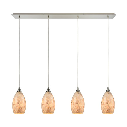 Elk Lighting Elk Lighting Capri Satin Nickel Multi-Light Pendant with Bowl / Dome Shade 10443/4LP
