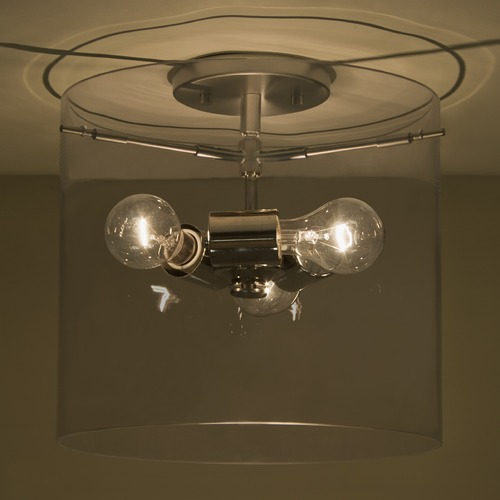 Besa Lighting Besa Lighting Pahu Satin Nickel Semi-Flushmount Light 1KM-S18407-SN-NI