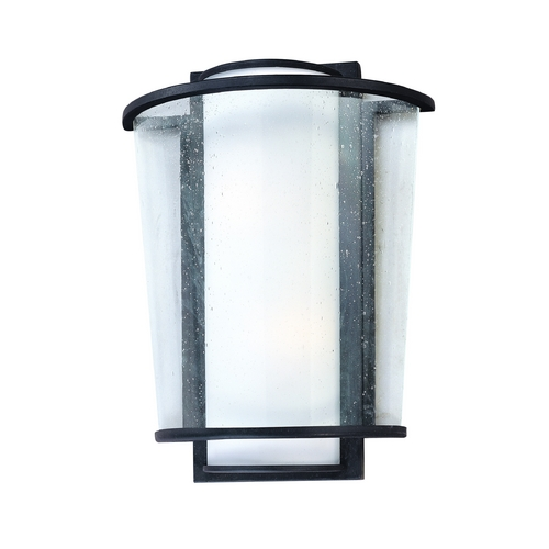 Troy Lighting Modern Outdoor Wall Light with White Glass in Forged Bronze Finish BF1351FBZ