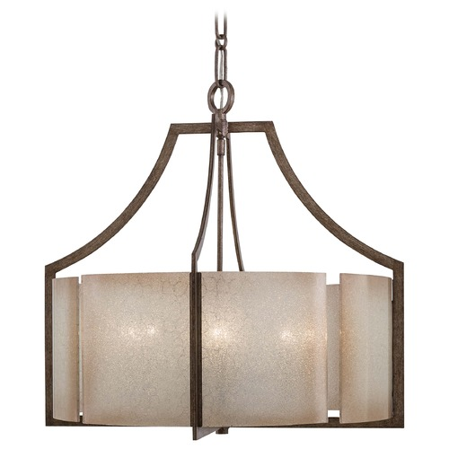 Minka Lavery Pendant Light with Beige / Cream Glass in Patina Iron Finish 4396-573