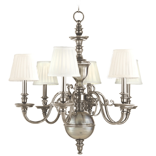 Hudson Valley Lighting Chandelier with White Shades in Historic Nickel Finish 1746-HN