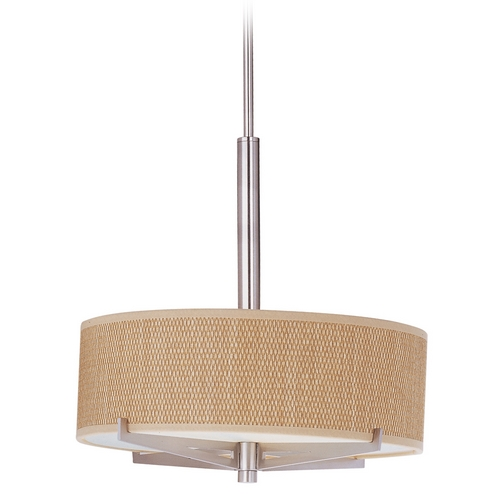 ET2 Lighting Modern Pendant Light with Brown Shades in Satin Nickel Finish E95405-101SN