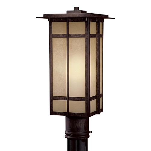 Minka Lavery Post Light with Beige / Cream Glass in Iron Oxide Finish 71195-A357-PL