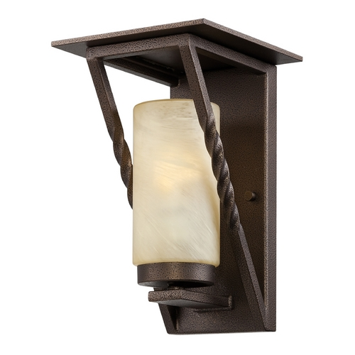 Designers Fountain Lighting Outdoor Wall Light with Beige / Cream Glass in Flemish Bronze Finish ES31921-FBZ