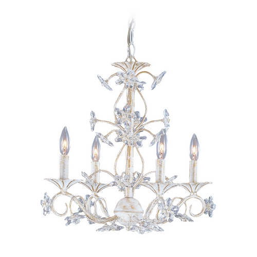 Crystorama Lighting Crystal Mini-Chandelier in Antique White Finish 5404-AW
