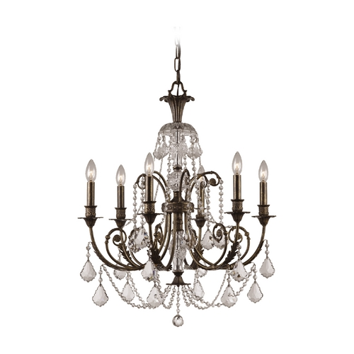 Crystorama Lighting Crystal Chandelier in English Bronze Finish 5116-EB-CL-SAQ