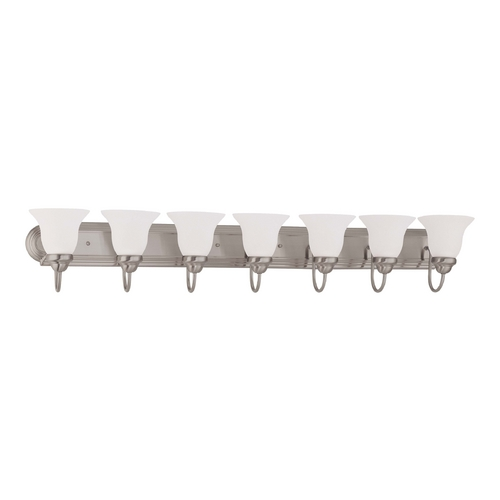 Nuvo Lighting Bathroom Light with White Glass in Brushed Nickel Finish 60/3327