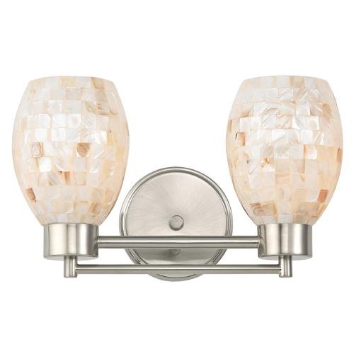Design Classics Lighting Bathroom Light with Mosaic Glass Glass in Satin Nickel Finish 702-09 GL1034