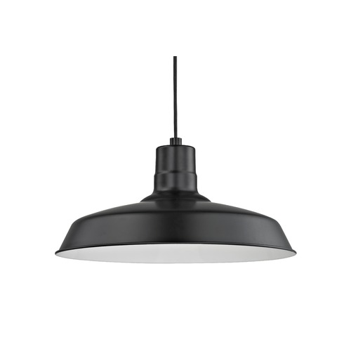 Recesso Lighting by Dolan Designs Black Cord Hung Pendant Barn Light with 16