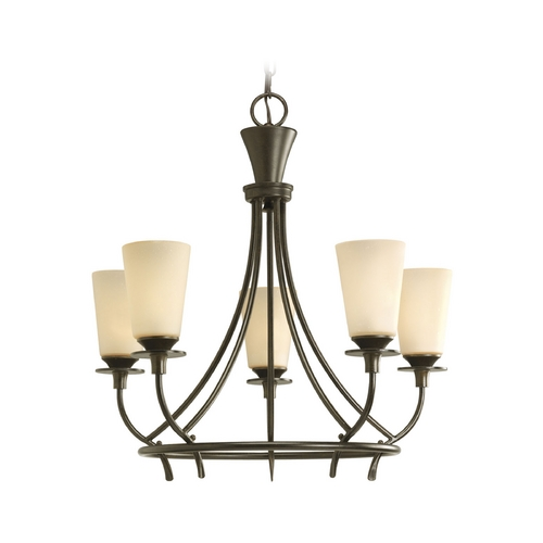 Progress Lighting Progress Chandelier with Beige / Cream Glass in Forged Bronze Finish P4006-77