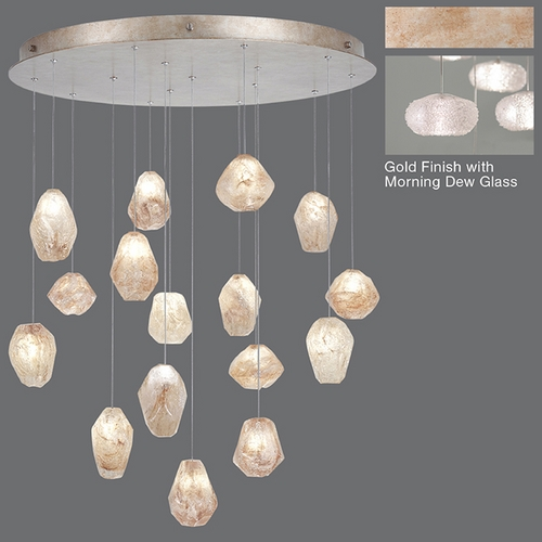 Fine Art Lamps Fine Art Lamps Natural Inspirations Gold-Toned Silver Leaf Multi-Light Pendant with Oblong Shade 862840-22ST