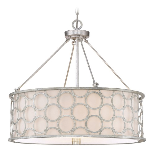 Savoy House Savoy House Lighting Triona Silver Leaf Pendant Light with Drum Shade 7-1160-4-34