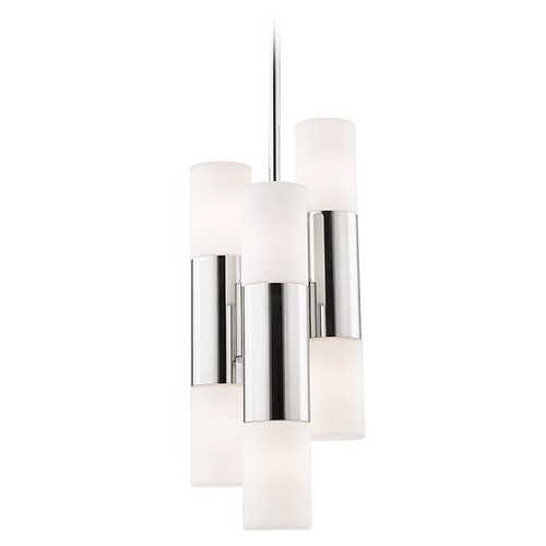 Mitzi by Hudson Valley Mitzi Lola Polished Nickel LED Pendant Light with Cylindrical Shade H196706-PN