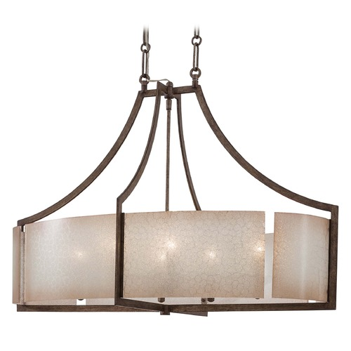 Minka Lavery Pendant Light with Beige / Cream Glass in Patina Iron Finish 4398-573