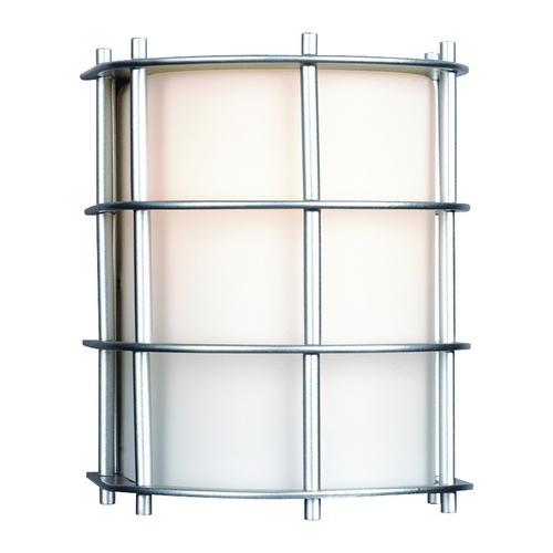 Philips Lighting Modern Outdoor Wall Light with White Glass in Vista Silver Finish F849041NV
