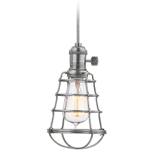 Hudson Valley Lighting Mini-Pendant Light with Brown Cage Shade 8001-HN-WG