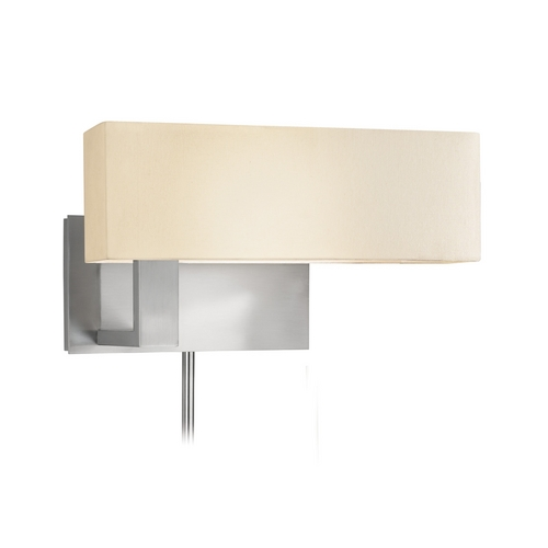 Sonneman Lighting Modern Sconce Wall Light with White Shade in Satin Nickel Finish 7027.13F