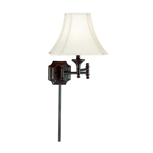 Kenroy Home Lighting Swing Arm Lamp with Beige / Cream Shade in Burnished Bronze Finish 33054BBZ