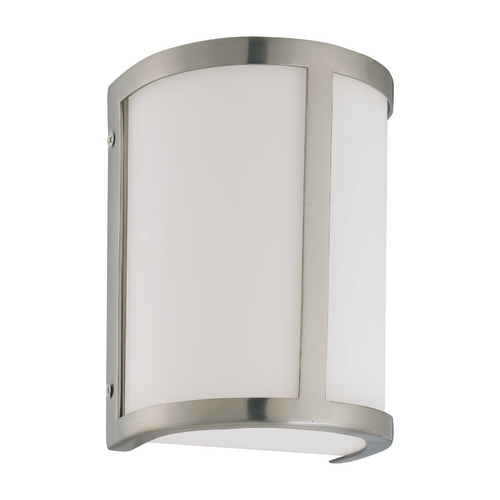 Nuvo Lighting Sconce Wall Light with White Glass in Brushed Nickel Finish 60/2868