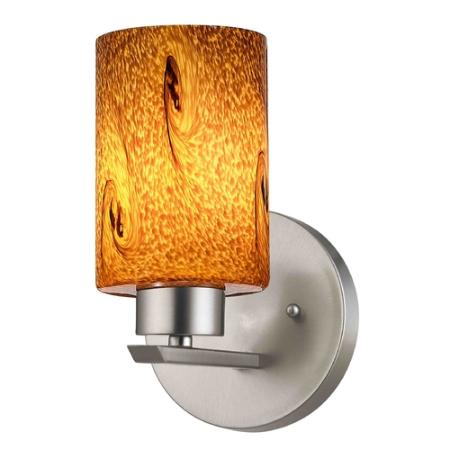 Design Classics Lighting Modern Sconce Wall Light with Brown Glass in Satin Nickel Finish 1124-1-09 GL1001C