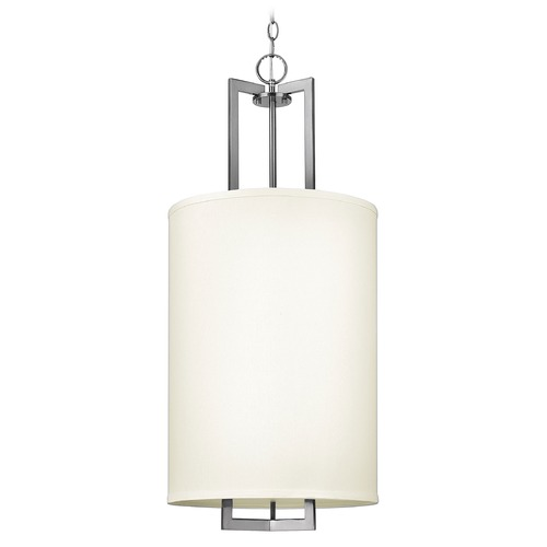Hinkley Lighting Modern Pendant Light with White Shades in Antique Nickel Finish 3205AN