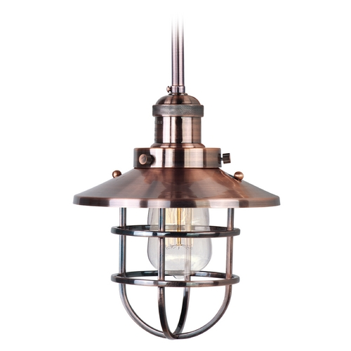 Maxim Lighting Maxim Lighting Mini Hi-Bay Antique Copper Mini-Pendant Light with Coolie Shade 25050ACP/BUI