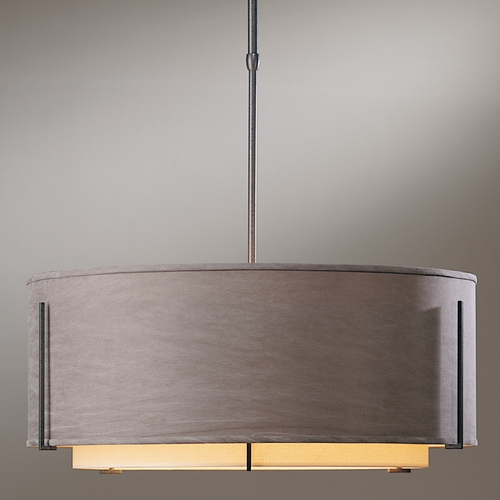 Hubbardton Forge Lighting Hubbardton Forge Lighting Exos Natural Iron Pendant Light with Drum Shade 139610-20-BDCD