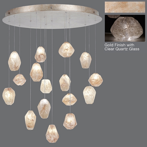 Fine Art Lamps Fine Art Lamps Natural Inspirations Gold-Toned Silver Leaf Multi-Light Pendant 862840-23ST