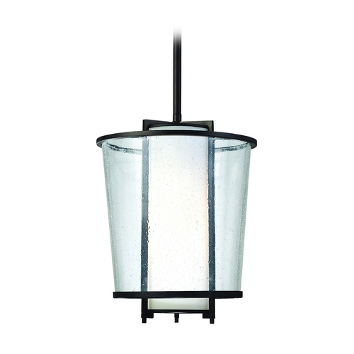 Troy Lighting Modern Outdoor Hanging Light with White Glass in Forged Bronze Finish FF1357FBZ