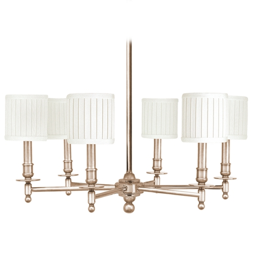 Hudson Valley Lighting Chandelier with White Shades in Satin Nickel Finish 306-SN