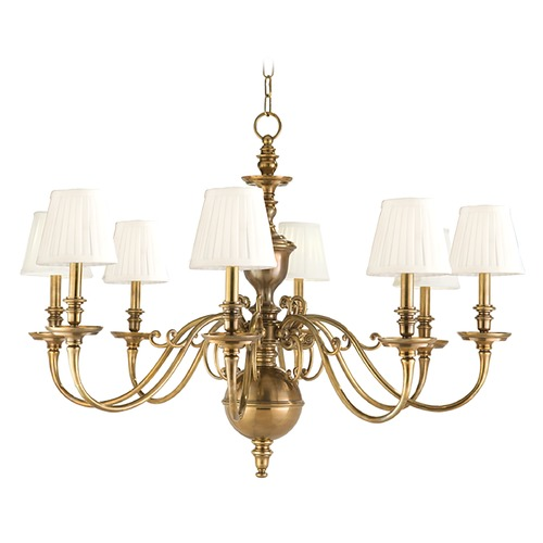 Hudson Valley Lighting Chandelier with White Shades in Aged Brass Finish 1748-AGB