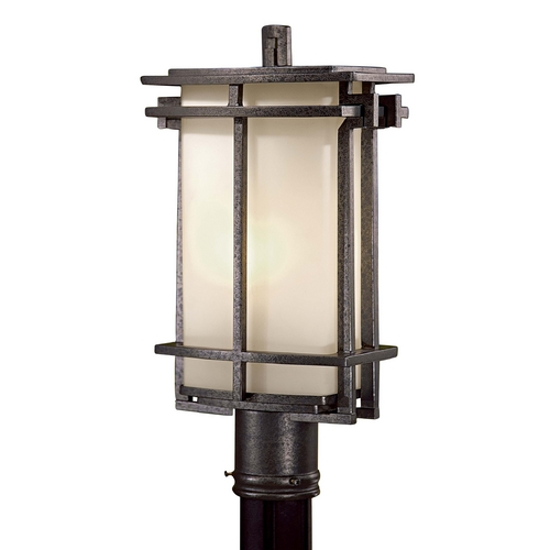 Minka Lavery Post Light with White Glass in Aluminum Finish 72016-A173-PL