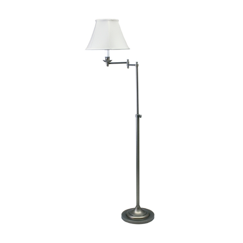 House of Troy Lighting Swing Arm Lamp with White Shade in Antique Silver Finish CL200-AS