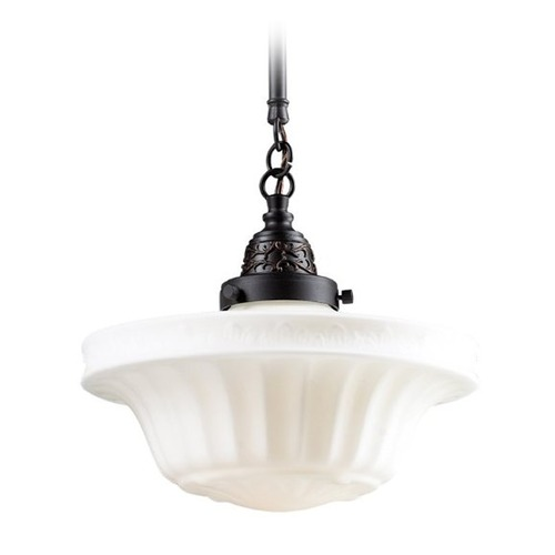Elk Lighting Pendant Light with White Glass in Oiled Bronze Finish 66217-1