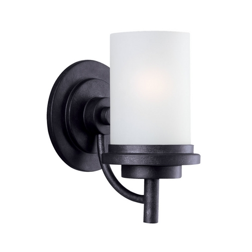 Sea Gull Lighting Modern Sconce Wall Light with White Glass in Blacksmith Finish 44660-839