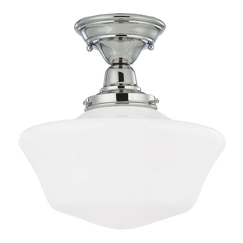 Design Classics Lighting 12-Inch Schoolhouse Ceiling Light in Polished Nickel Finish FBS-15 / GA12