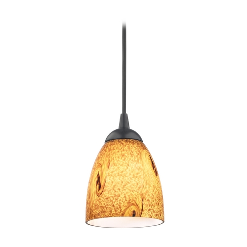 Design Classics Lighting Modern Mini-Pendant Light with Brown Art Glass 582-07 GL1001MB