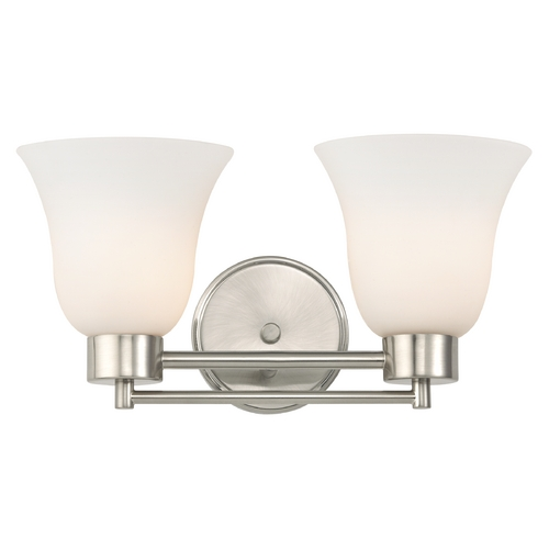 Design Classics Lighting Modern Bathroom Light with White Glass in Satin Nickel Finish 702-09 GL9222-WH