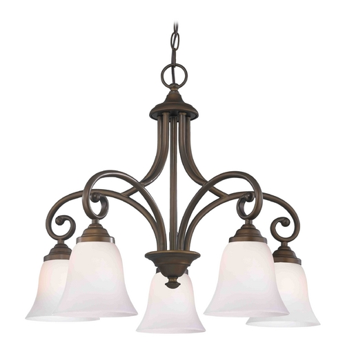 Design Classics Lighting Chandelier with White Glass in Neuvelle Bronze Finish 717-220 GL9222-WH