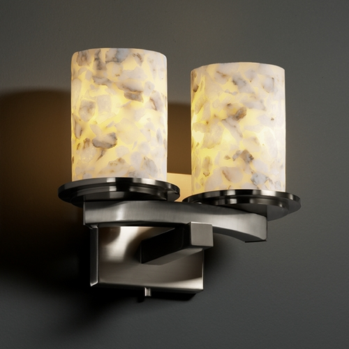 Justice Design Group Justice Design Group Alabaster Rocks! Collection Sconce ALR-8775-10-NCKL
