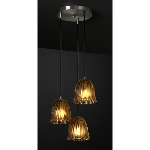 Justice Design Group Justice Design Group Veneto Luce Collection Multi-Light Pendant GLA-8818-56-AMBR-NCKL