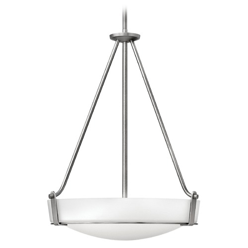 Hinkley Lighting Modern Pendant Light with White Glass in Antique Nickel Finish 3222AN