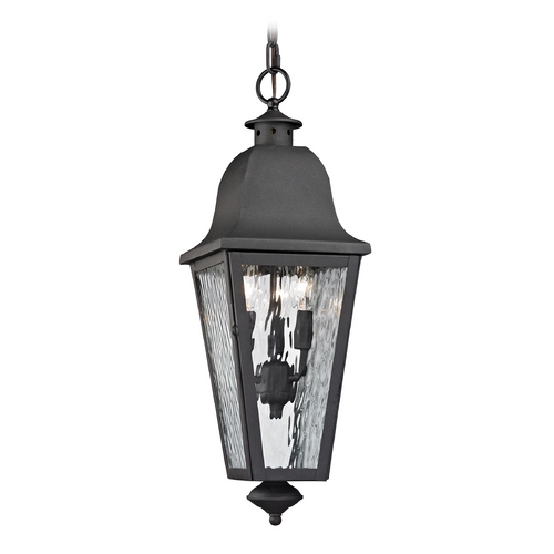 Elk Lighting Outdoor Hanging Light with Clear Glass in Charcoal Finish 47104/3