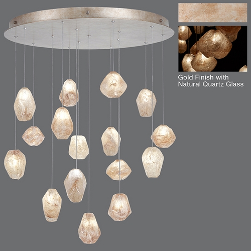 Fine Art Lamps Fine Art Lamps Natural Inspirations Gold-Toned Silver Leaf Multi-Light Pendant 862840-24ST