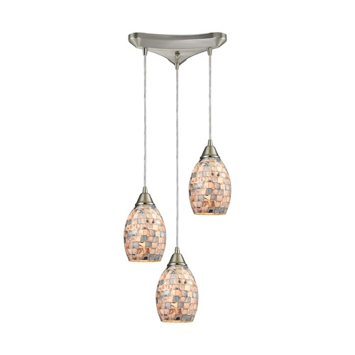Elk Lighting Elk Lighting Capri Satin Nickel Multi-Light Pendant with Bowl / Dome Shade 10444/3