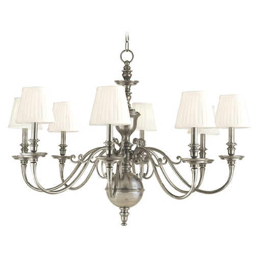 Hudson Valley Lighting Chandelier with White Shades in Historic Nickel Finish 1748-HN