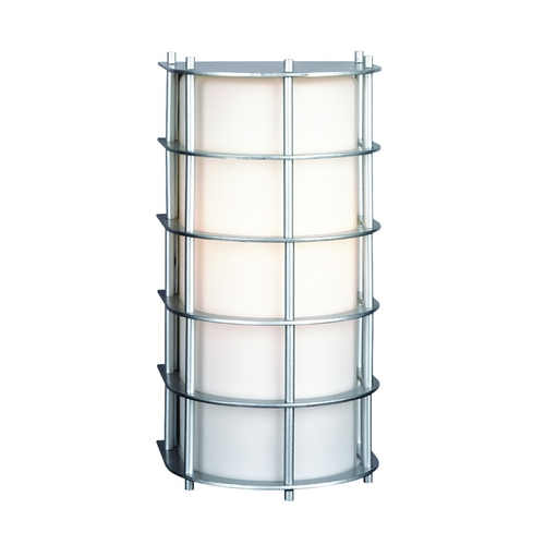 Philips Lighting Modern Outdoor Wall Light with White Glass in Vista Silver Finish F849141NV