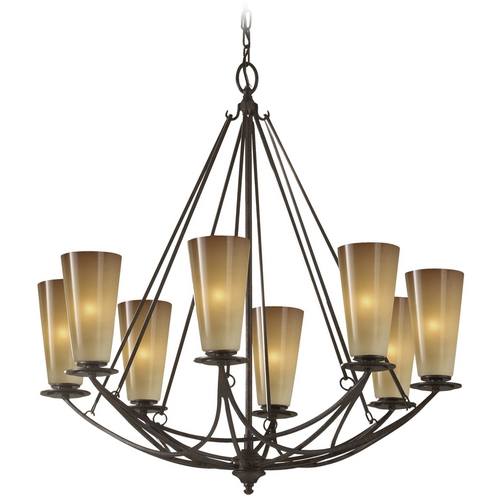 Feiss Lighting Chandelier with White Glass in Mocha Bronze Finish F2606/8MBZ