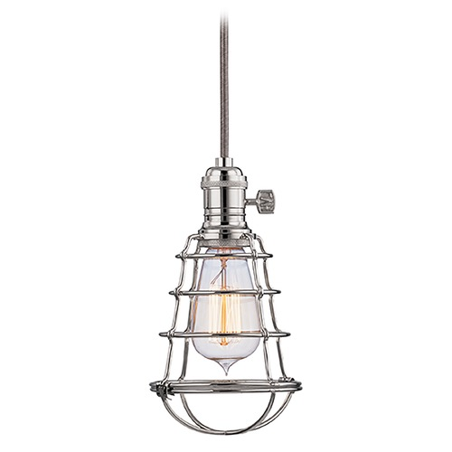 Hudson Valley Lighting Mini-Pendant Light with Silver Cage Shade 8001-PN-WG