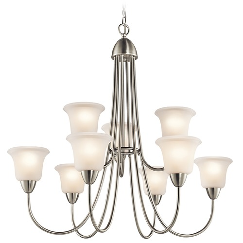Kichler Lighting Kichler Chandelier with White Glass in Brushed Nickel Finish 42885NI